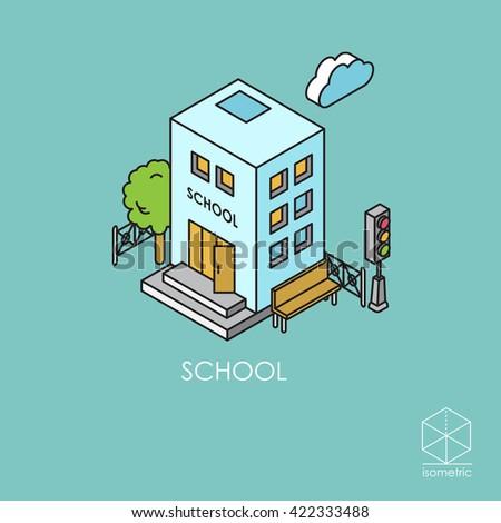 Isometric colr icon school - stock photo