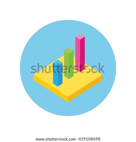 Isometric 3D analysis data. Isometric pie chart flat design. Graph pie, infographics and pie chart, diagram marketing, report data, circle statistic, finance presentation. Set isometric graphs, charts - stock photo