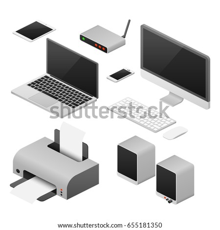 Isometric 3D digital computers and supplies of office workspace. Workplace with laptop, speaker and printer, illustration of digital device for work