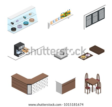 Isometric 3D illustration set of object for making coffee shop or canteen