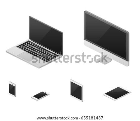Isometric 3d laptop, tablet, smartphone, computer screen responsive web design elements. Set of device with flat screen, illustration of device for communication