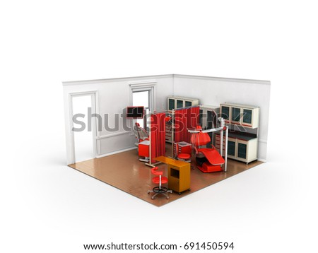 Isometric dentist office red 3d rendering on white background