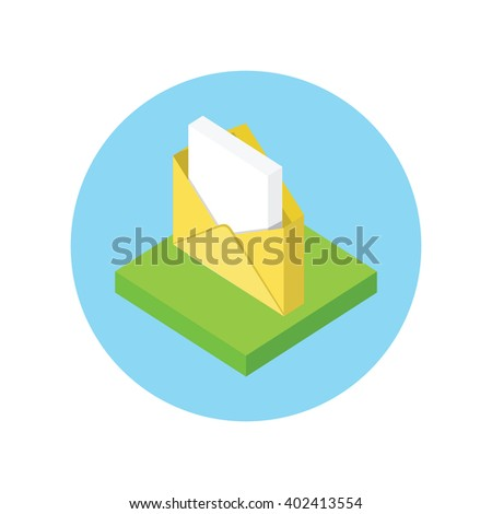 Isometric envelope yellow open design flat. 3D envelope and letter, envelope icon, mail and open envelope, envelope template, invitation envelope, open or close envelope  illustration - stock photo