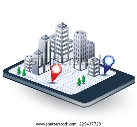 Isometric fantasy of the city and the communication - stock photo