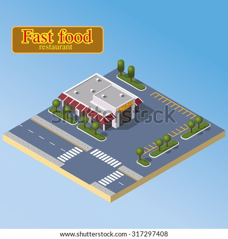 Isometric fast food restaurant and parking zone. Modern cafe icon - stock photo