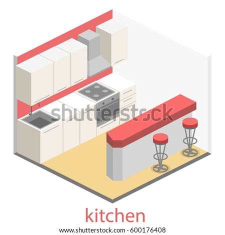 Isometric flat 3D interior of modern kitchen. full set of kitchen furniture ilustration.