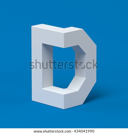 Isometric font letter D 3d - stock photo