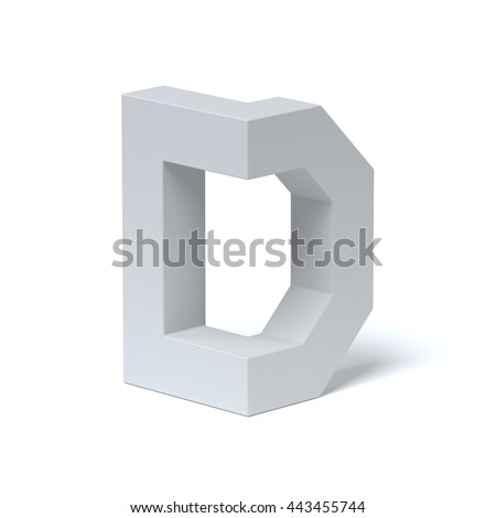 Isometric font letter D 3d rendering - stock photo