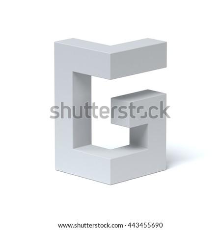 Isometric font letter G 3d rendering - stock photo
