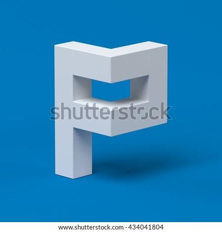 Isometric font letter P 3d - stock photo