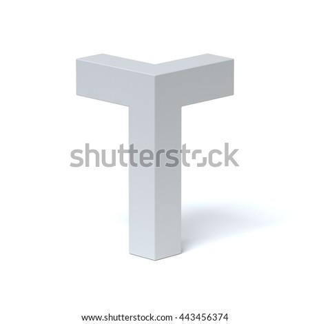 Isometric font letter T 3d rendering - stock photo