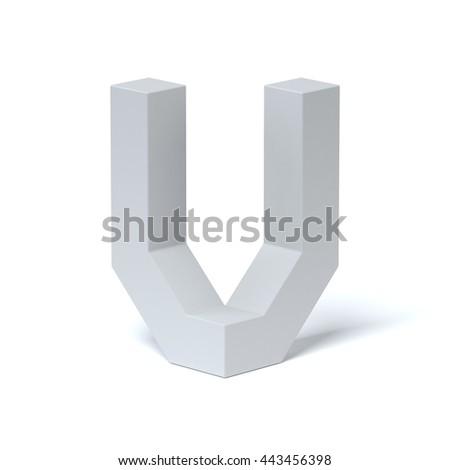 Isometric font letter V 3d rendering - stock photo