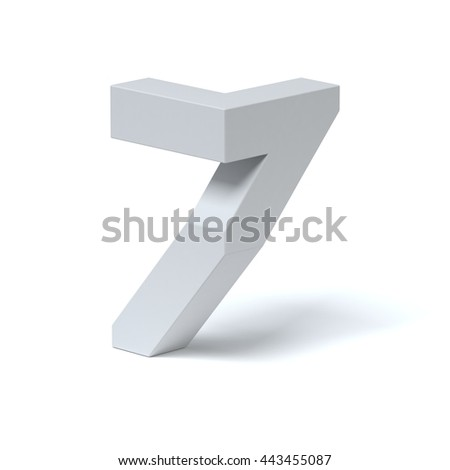 Isometric font number 7 3d rendering