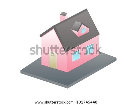 isometric house-A small house with  roof on a white background - stock photo