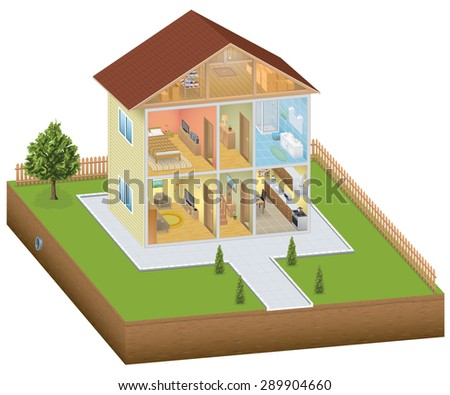 Isometric house interior with yard - stock photo