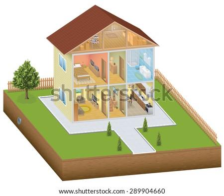 Isometric house interior with yard - stock photo