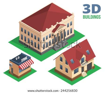 Isometric House  Store and Building Graphic Designs on White Background. - stock photo