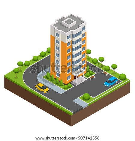 Isometric icon or infographic elements representing town apartment buildings and houses with street roads and cars for city map creation.