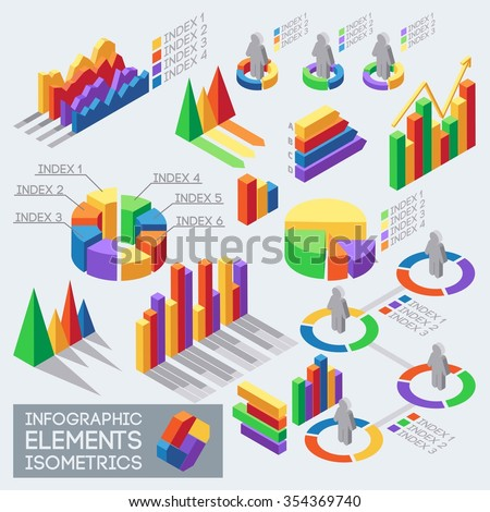 Isometric icons, elements of infographics and statistics Meto data charts and graphs