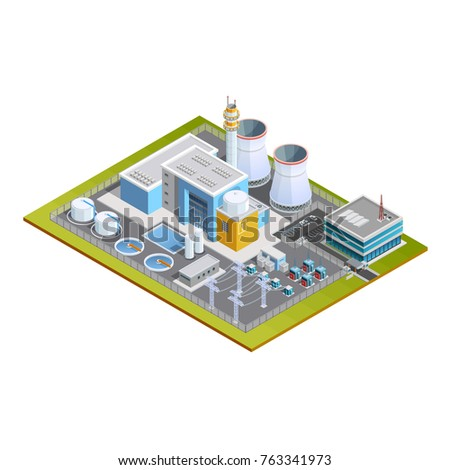 Isometric image of one block nuclear station with production centre conversion block  transformers pipes and office  illustration