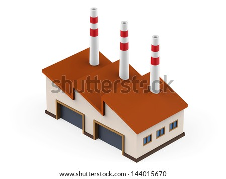 Isometric Industrial Factory Building - stock photo