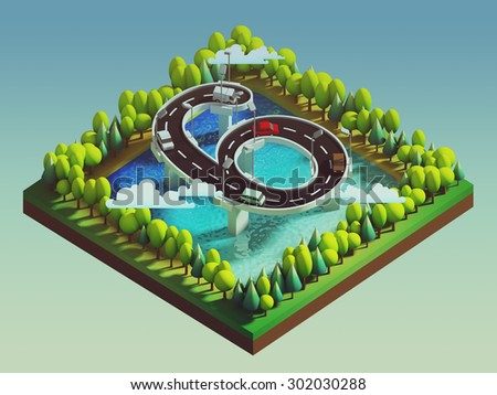 Isometric island transportation, road is number six