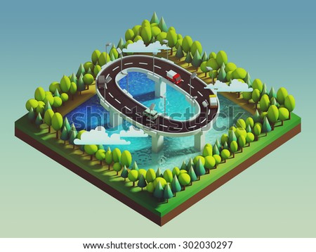 Isometric island transportation, road is number zero