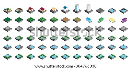 Isometric Kit of Buildings Blocks Trees and Houses - Stone Edition - stock photo