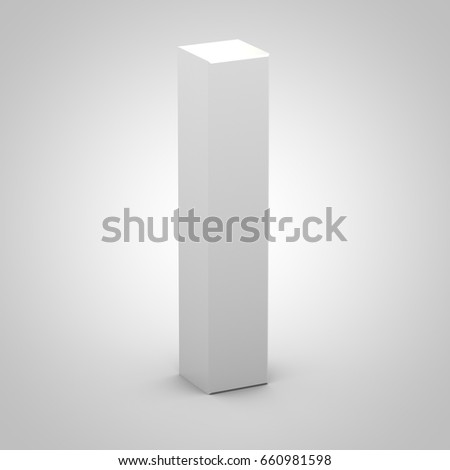 Isometric letter I uppercase. 3D rendering of white font with shadow isolated on white background.