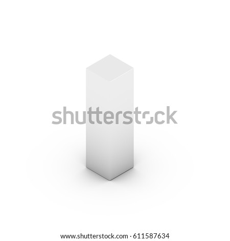 Isometric letter L lowercase. 3D rendering of white font with shadow isolated on white background.