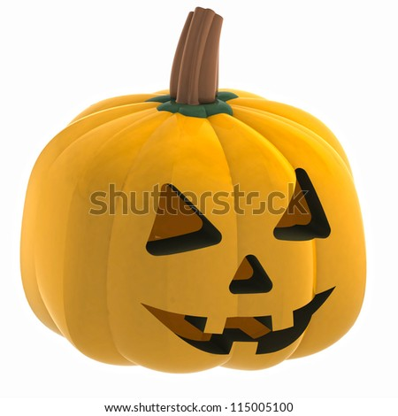 isometric macro pumpkin halloween face render illustration