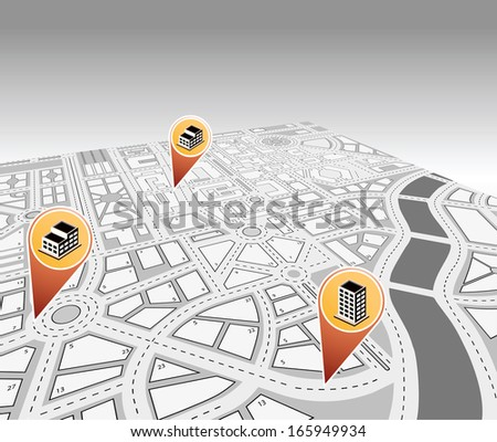 Isometric map - stock photo