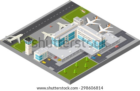 Isometric map of the city airport, the trees and the flight of construction and building, terminal, planes and cars   illustration. - stock photo