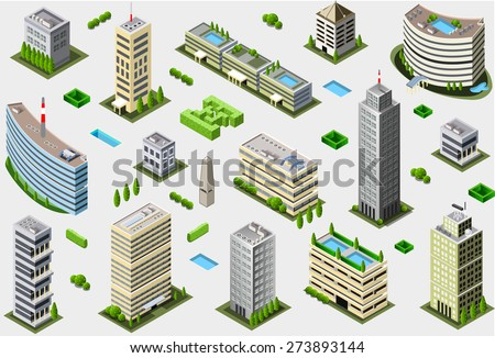 Isometric Megalopolis Building Set - City Game Tales Collection - stock photo