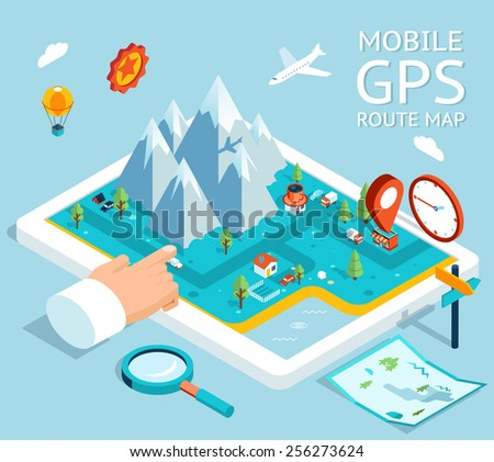 Isometric mobile GPS navigator. Flat map with notation and markers - stock photo