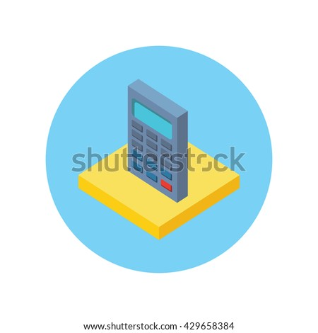 Isometric modern app icon of calculator business concept on white background. 3d calculator concept icon accounting and calculation. Office and business work  elements - stock photo
