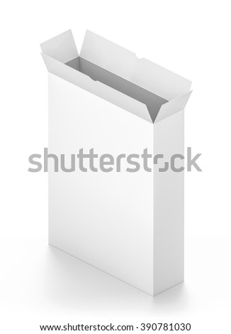 Isometric open white tall rectangle blank box isolated on white background.