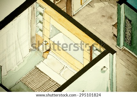 Isometric partial architectural watercolor drawing of apartment floor plan, symbolizing old-school artistic old fashioned design approach to real estate property management and contracting business - stock photo
