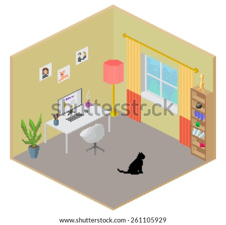 isometric pixel art style room freelance stock