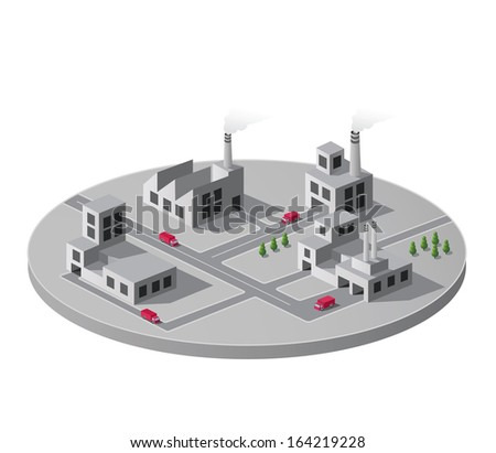Isometric portion of the landscape with factories