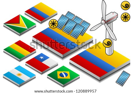 isometric representation of solar and wind energy on button flag