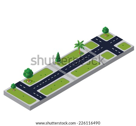 Isometric road with trees and crossroads