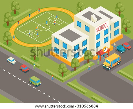 Isometric school or university building. 3d student avatar and school bus. Flat design.  Street structure, pupils and football field, tree and road - stock photo