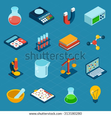 Isometric science 3d icons set with flask magnet calculator isolated  illustration - stock photo