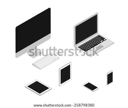 Isometric set of computer, laptop, tablet pc and smartphone - stock photo