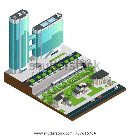 Isometric skyscrapers and suburban houses near railway tunnel composition  illustration