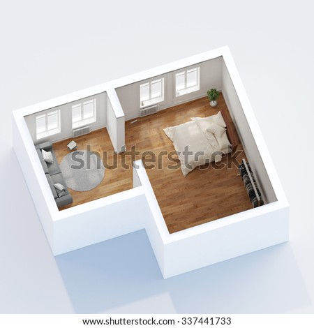 Isometric top view of apartment with bedroom and living room (3D Rendering)