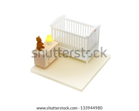 Isometric view of baby's bedroom with commode and bear - stock photo