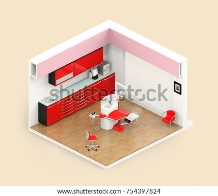 Isometric view of dental clinic interior with dental chair and cabinet system. 3D rendering image.