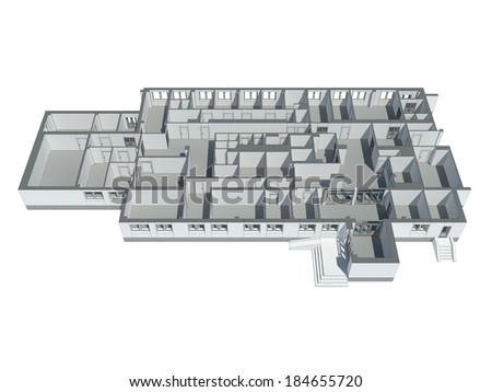 Isometric view of the first floor plan. Isolated on Green - stock photo